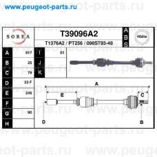 T39096A2, EAI, Полуось правая для Peugeot 406